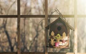 Обои фон, окно, домик