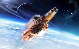 Обои космос, звезды, поверхность, полет, корабль, планета, Star Citizen