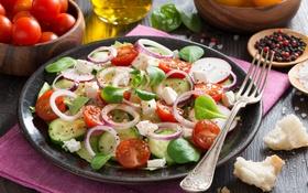 Обои лук, помидоры, огурцы, салат, специи
