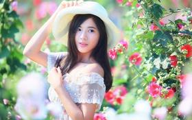 Обои азиатка, шляпа, волосы, лицо, девушка, лето