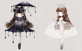 Обои девочки, крест, зонт, корона, зеркало, туфли, сумка