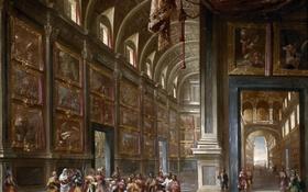 Обои интерьер, картина, мифология, Иосиф Знакомит Отца и Братьев с Фараоном, Франсиско Гутьеррес Кабельо
