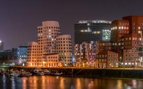 Картинка ночь, огни, река, дома, Германия, катера, Dusseldorf