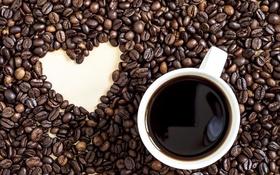Обои чашка, сердце, love, heart, кофе, beans, coffee