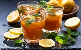 Обои лимон, чай, напиток, мята
