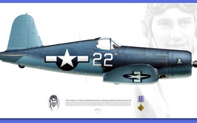 Обои blue, pilot, Vought F4U Corsair