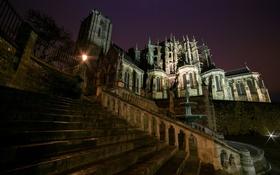 Обои свет, ночь, Франция, Le Mans, фонари, лестница, собор