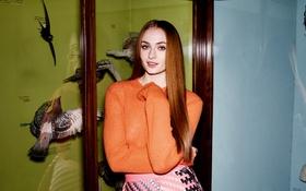 Картинка птицы, оранжевый, юбка, макияж, актриса, прическа, фотограф