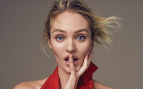 Картинка девушка, лицо, рука, красота, удивление, блондинка, пальцы