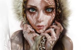 Обои глаза, девушка, мех, лицо, арт, капюшон, взгляд