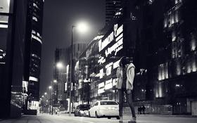 Обои девушка, ночь, улица