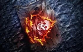 Картинка Assassins Creed 4, череп, Black Flag, огонь