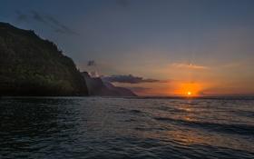 Картинка небо, пейзаж, закат, горы, Kauai, Кауаи