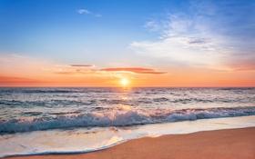 Обои море, закат, beach, sea, sunset, sand, wave