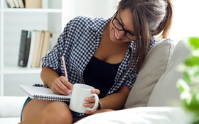 Картинка smile, beautiful, work, study, cup of tea