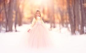 Картинка снег, платье, девочка, Meg Bitton