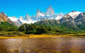 Обои снег, горы, озеро, скалы, Аргентина
