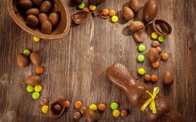 Обои Happy, decoration, eggs, Easter, chocolate, Пасха, яйца