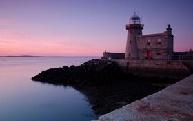 Обои море, закат, побережье, маяк, вечер, горизонт, Ирландия