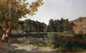Обои деревья, пейзаж, природа, картина, Озеро, охотник, Карлос де Хаэс