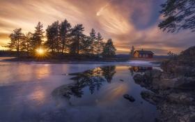 Обои зима, озеро, дом