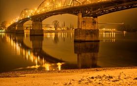 Обои ночь, мост, огни, река, фонари, Gran, Венгрия