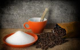 Обои кофе, сахар, зёрна