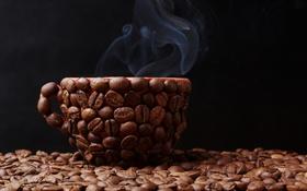 Обои кофе, зерна, cup, beans, coffee
