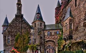 Обои дизайн, замок, Германия, hdr, Кохем, Reichsburg