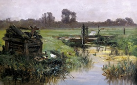 Обои трава, пейзаж, ручей, картина, Карлос де Хаэс, Луга Голландии