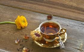 Обои чай, печенье, чашка, напиток, блюдце, ранункулюс