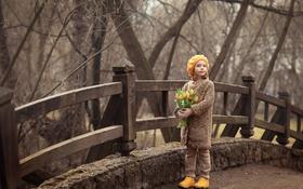 Обои девушка, цветы, природа, ребенок, тюльпаны