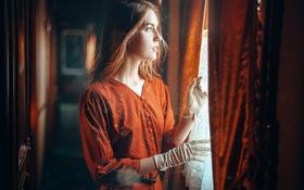Картинка Девушка, Взгляд, Свет, Волосы, Платье, Оранжевое