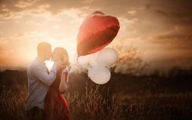 Обои парень, be my valentine, девушка, пара, шарики