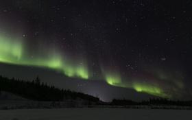 Обои северное сияние, ночь, звезды, пейзаж, зима