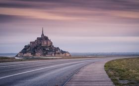 Обои дорога, пейзаж, Le Mont Saint-Michel