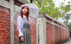 Картинка лицо, зонтик, дождь, азиатка