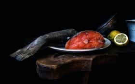 Обои лимон, рыба, The salmon