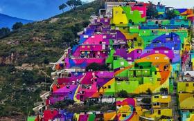 Обои Пачука-де-Сото, Идальго, квартал, Мексика, дома, гора, краски