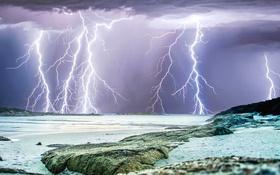 Обои море, гроза, тучи, стихия, молния, Австралия, Перт