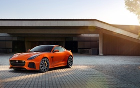 Обои оранжевый, купе, Jaguar, ягуар, Coupe, F-Type
