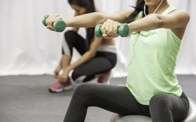 Обои green, woman, ball, workout, fitness, Dumbbells