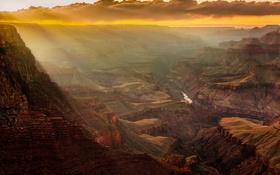 Обои небо, облака, горы, река, камни, скалы, каньон