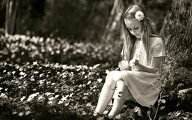 Обои лето, девочка, цветочки