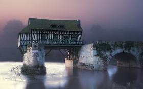 Картинка house, river, landscape, nature, bridge, fog, sunrise
