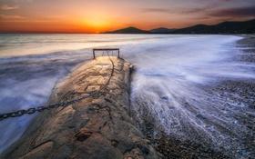 Обои море, закат, берег