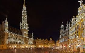 Обои Брабантская готика, площадь Гран-Плас, ратуша, Брюссель, Бельгия, огни, ночь