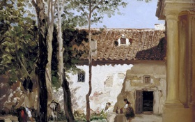 Картинка деревья, пейзаж, дом, картина, Карлос де Хаэс, Двор Монастыря Пьедра