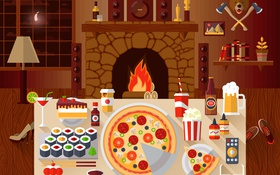 Обои black, Pizza, italian pizza