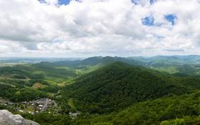 Обои зелень, лес, облака, горы, панорама, Вирджиния, США